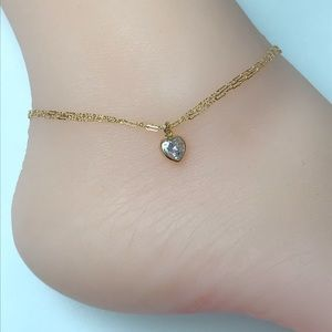 Jewelry - 14k Gold Filled Double Layered Heart Anklet